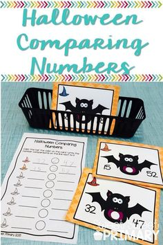 What a cute Halloween math center! Students compare numbers with this write the room activity. Perfect for kindergarten, first grade, or second grade. First Grade Writing, First Grade Classroom, First Grade Math, Second Grade, Grade 2, First Grade Freebies, First Grade Activities, Math Activities, Math Resources