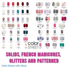 Look at all your choices with Color Street! 12 Solids, 4 French Manicures,  6 Glitters and 38 Nail Art Patterns. And this is just the beginning! 100% real nail polish strips, easy application, no dry time and no tools needed.