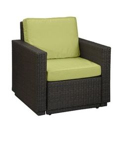 Home Styles Riviera Harvest Yellow Arm Chair (Riviera Harvest Arm Chair), Brown, Size Single, Patio Furniture (Aluminum) Wicker Armchair, Outdoor Armchair, Outdoor Chair Cushions, Green Cushions, Outdoor Chairs, Outdoor Furniture Sets, Outdoor Decor, Indoor Outdoor, Porch Furniture
