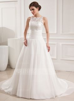 Wedding Dresses - $199.99 - Ball-Gown Scoop Neck Court Train Chiffon Lace Wedding Dress With Ruffle (002019534) http://jjshouse.com/Ball-Gown-Scoop-Neck-Court-Train-Chiffon-Lace-Wedding-Dress-With-Ruffle-002019534-g19534?ver=xdegc7h0