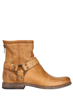 FRYE - PHILLIP HARNESS LEATHER ANKLE BOOTS - LUISAVIAROMA
