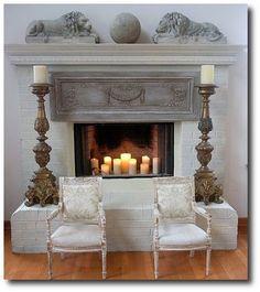 Chalk Painted Fireplace Mantel   Painted fireplace mantels, Paint ...