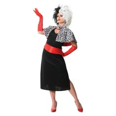 Cruella De Ville Costume Womens Fancy Dress Outfit Adult  Disney