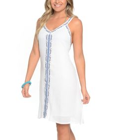 White & Blue Contrast-Stripe Sleeveless Dress - Plus Too