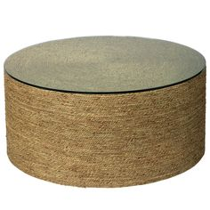 Jamie Young Harbor Coffee Table, Natural, Wrapped in braided sea grass, this round coffee table brings hearty texture and chic, seaside appeal to any room of the house. Topped with a piece of clear glass. Drum Coffee Table, Coffee Table Furniture, Coffee Table Wayfair, Glass Top Coffee Table, Round Coffee Table, Home Furniture, Drum Table, Coffee Cups, Table Lamp
