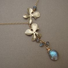 Orchids Necklace - Labradorite briolette, Gold Filled, Elegant Hand Crafted Jewelry