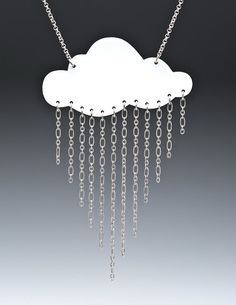 Raining Cloud Necklace · How To Make A Pendant Necklace · Jewelry Making, Decoupage, and Jewelry Making on Cut Out + Keep Plastic Fou, Jewelry Crafts, Handmade Jewelry, Shrink Plastic Jewelry, Shrink Art, Shrink Film, 3d Laser, Shrinky Dinks, Beaded Anklets