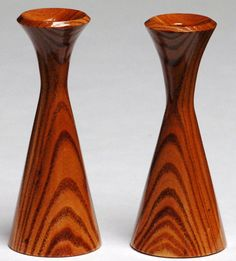Wooden Pair Candle Holders Hand Turned & Handmade Of Reclaimed Chinaberry Wood…
