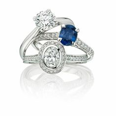 Vintage style sapphire and diamonds set in18ct white gold or platinum. Ethical engagement rings from Ingle & Rhode - See more on the website
