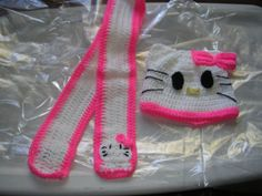 Hello Kitty Hat And Scarf by BobbisCrochetCorner on Etsy, $25.00