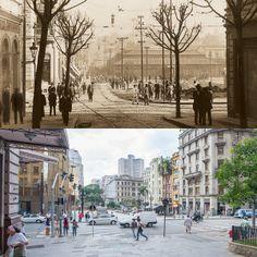 Foto comparativa: avenida São João com rua Líbero Badaró no início do século 20 (foto de Aurélio Becherini) e em 2014 (foto de Flavio Moraes).