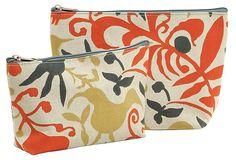 S/2 Fleur Zip Bags, Tomato on OneKingsLane.com