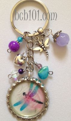 DRAGONFLY bottle cap key chain silver cap by BottleCapBling101, $16.00