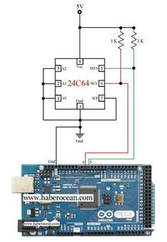 Circuit to Read and Write Data to 24C64 EEPROM Using Arduino