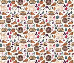 Pies // thanksgiving food apple pie pumpkin food fabric by andrea_lauren on Spoonflower - custom fabric