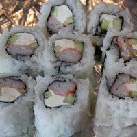 Crab Stick with Cucumber and Cream Cheese Sushi Roll.