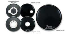 """10 mil single ply resonant bass drumheads feature Aquarian's patented """"Floating Muffling System."""""""