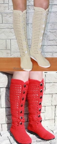 This not only looks like a fun craft but looks good to wear. Crochet Slipper Boots, Crochet Sandals, Knitted Slippers, Crochet Girls, Crochet Woman, Diy Crochet, Crochet Shoes Pattern, Shoe Pattern, Crochet Patterns