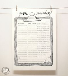 DOODLE Bill Reminder / Organizer Printable A4 and by SkyGoodies