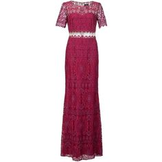 Marchesa Notte lace floor length gown (1 315 AUD) ❤ liked on Polyvore featuring dresses, gowns, gown, pink, purple lace dress, long evening gowns, purple gown, long pink dress and purple evening dresses