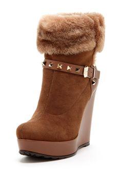 Fur Trim Wedge Bootie on HauteLook