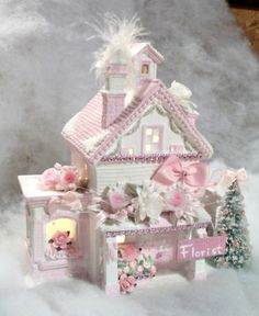 Shabby Pink White Victorian Chic Lighted Christmas Village Florist House | eBay