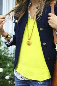 love this combo, navy jacket with dots and bright color underneath. Causal outfit ideas