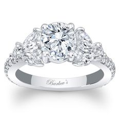 """Barkev's 14K White Gold Diamond Encrusted """"Unique"""" Engagement Ring Featuring Marquise Side Diamonds 0.83 Carats TW Style 7996L"""