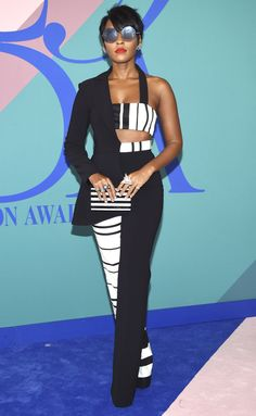 JANELLE MONÁE in her signature black-and-white color palette wearing Christian Siriano at the 2017 CFDA Awards