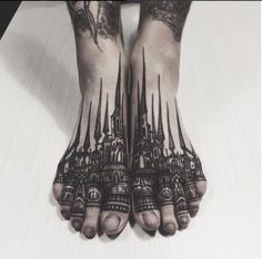 Holy mother of architectural black tattoos, I am so obsessed with this artist! Thieves of Tower