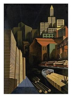 Seattle by Louis Lozowick (Ukranian-American), oil on canvas, 1926 Harlem Renaissance, Edward Hopper, Bauhaus, Social Realism Art, Charles Demuth, Industrial Paintings, Art Deco Paintings, Magic Realism, Constructivism