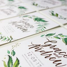 A close up of these beauties for the super lovely Grace and Andrew 🌿💕✍🏼️ . . . . . . . . #savethedates #savethedateinvitations #brisbaneinvitations #brisbaneweddinginvitations #weddinginvitations #weddinginvites #weddingstationery #weddinginspo #stationery #engagement #engagementinvites #rustic #flatlay #envelopes #handlettering #moderncalligraphy #calligraphy #handwriting