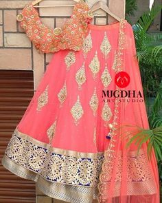 Beautiful peach double layered lehenga teamed up with peach hand work dhupatta and blouse from the house of Mugdha's For orders / enquiries - Contact - 9949047889 Wats app - 9010906544 Email - mugdha410@gmail.com
