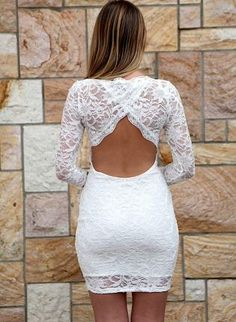 going out after wedding dress #White #Lace #OpenBack/4+Sleeve+Bodycon+Dress,++Dress,+white+lace+backless+bodycon+dress,+Chic
