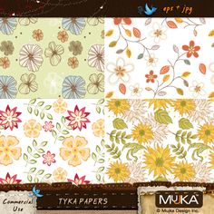 Tyka Seamless Pattern set,  Bohemian Florals, soft subtle colors, this set can be used as Papers,Backgrounds, website, Stationery, wrapping paper..etc    Set: 4 pattern file, backgrounds