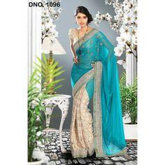 Delightful Green. Banarasi Brocade and shimmer Saree SS1096