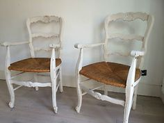Pair of Antique Painted French Carver Chairs with Rush Seats