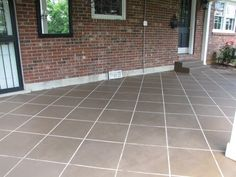 faux tile with concrete stain