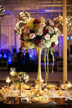 #wedding #reception #centerpiece #purple #pink #white #green #hydrangea #rose #love