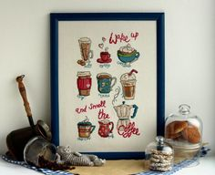 Thank you for checking out my creation on MostFavouriteThings Shop. I enjoy making this cool and funny handmade design about coffee just for you! Use it to spice up any room to show off your own personal style.  This picture would be a great present to friends, who Im sure will love this fragrant coffee theme.  It is ready to hang.  It has been professionally framed with a beautiful frame (without glass).  Product size: With frame - 43.5cm x 33.5cm ( 17.1 x 13.2 ) Picture only - 39cm x 29cm…