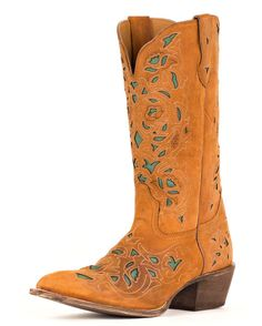 I have a vintage leather jacket that is this exact butterscotch shade, cut exactly like a jean jacket.  These would be awesome with it.  Laredo Women's Miranda Boots in Brown.