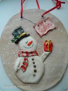 Поделка изделие Новый год Лепка Снеговики и подковы  Гипс Гуашь Ленты Тесто соленое фото 6