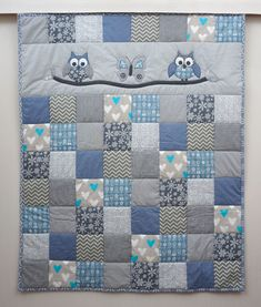 Baby Quilts Crib Quilt, Owl Quilt, Baby Boy Quilt, Blue and Gery Patchwork Blanket, Handmade… Quilt Baby, Crib Quilt Size, Owl Baby Quilts, Baby Boy Quilt Patterns, Baby Patchwork Quilt, Cot Quilt, Girls Quilts, Blue Quilts, Baby Quilts For Boys