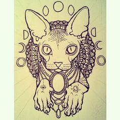 #hairless #cat #moon #phase #tattoo