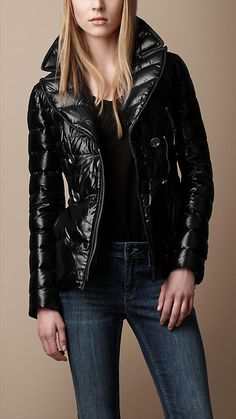 Burberry Brit Oversized Collar Down-Filled Puffer