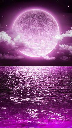 Purple Moon Wallpaper by Sixty_Days - - Free on ZEDGE™ - wallpaper - Wallpaper Pink Moon Wallpaper, Cute Galaxy Wallpaper, Night Sky Wallpaper, Planets Wallpaper, Wallpaper Space, Butterfly Wallpaper, Scenery Wallpaper, Cute Wallpaper Backgrounds, Pretty Wallpapers