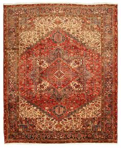 Hand-knotted Wool Red Traditional Oriental Heriz Rug (10'4 x 12'6)
