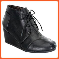 Forever Link Forever Link Patricia-11 Women's Caual Fashion Oxford Ankle Booties Lace up Wedge Shoes (6, Black) - Oxfords for women (*Amazon Partner-Link)