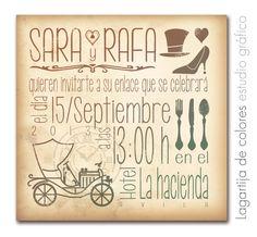 """Invitaciones personalizadas """"Lagartija de Colores"""" Modelo Vintage http://www.lagartijadecolores.com/invitaciones"""