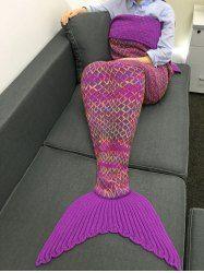 Chic Quality Colorful Rhombus Design Knitting Mermaid Shape Blanket